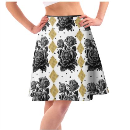 Black Rose and Gold Rhombus Flared Skirt