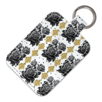 Black Rose and Gold Rhombus Leather Keyring