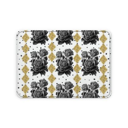 Black Rose and Gold Rhombus Card Holder