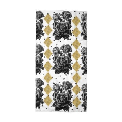 Black Rose and Gold Rhombus Neck Tube Scarf