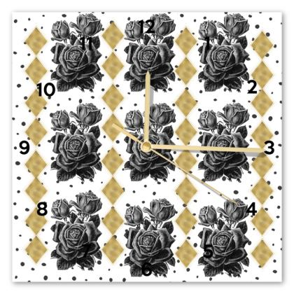 Black Rose and Gold Rhombus Clock