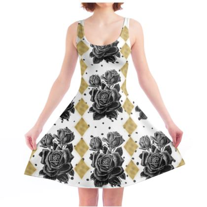4f8fe92b6e49 Black Rose and Gold Rhombus Skater Dress