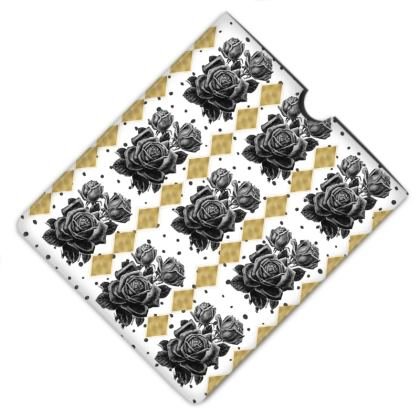 Black Rose and Gold Rhombus Leather iPad Case