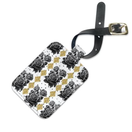Black Rose and Gold Rhombus Luggage Tag