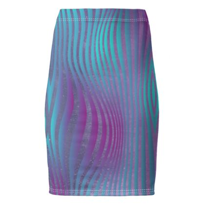 Pencil Skirt- Emmeline Anne Glamorous Stripes Ocean Blues