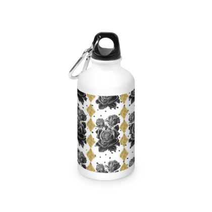 Black Rose and Gold Rhombus Water Bottle