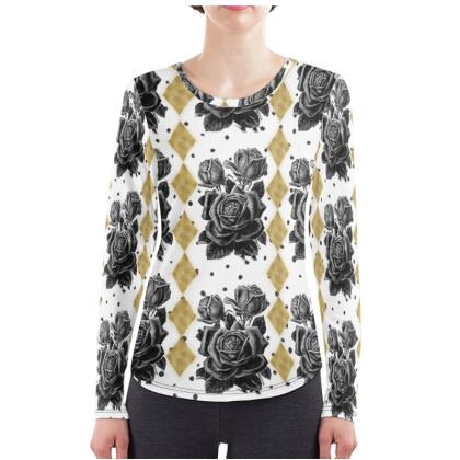 Black Rose and Rhombus Ladies Long Sleeve Shirt