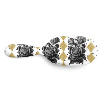 Black Rose and Gold Rhombus Hairbrush Large