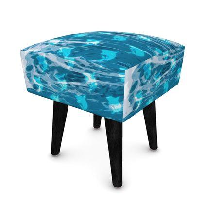 Footstool (Round, Square, Hexagonal) - Shark Ocean Abstract