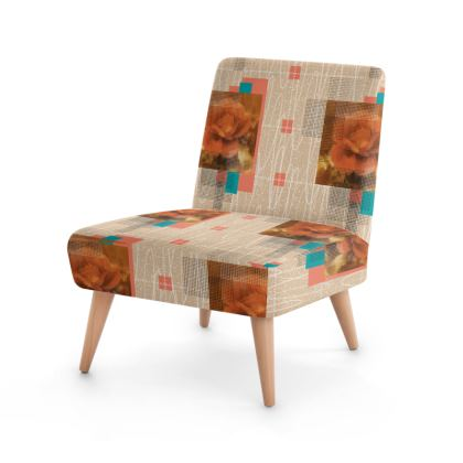 Old Roses Mid Century Modern Occasional Chair