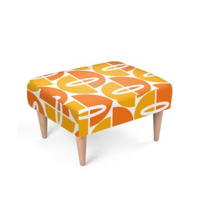 Orang/Gold Mid Century Modern Footstool