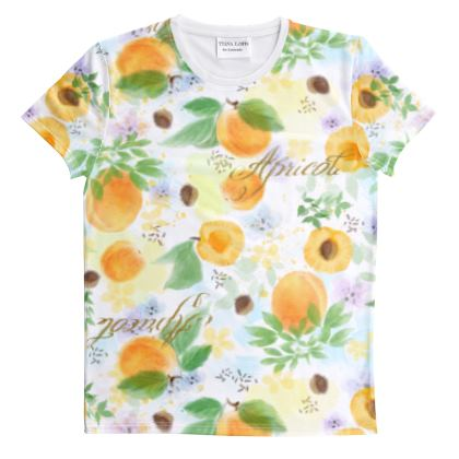 Little sun - Cut And Sew All Over Print T Shirt - fruit design, apricots, sunny, orchard, yellow, bright, natural food, garden, hand-drawn floral, summer gift - design by Tiana Lofd