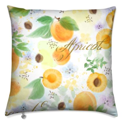 Little sun - Cushions - fruit design, apricots, sunny, orchard, yellow, bright, natural food, garden, hand-drawn floral, summer gift - design by Tiana Lofd