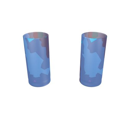 Large Round Shot Glass 2 Set - Abstract Colours