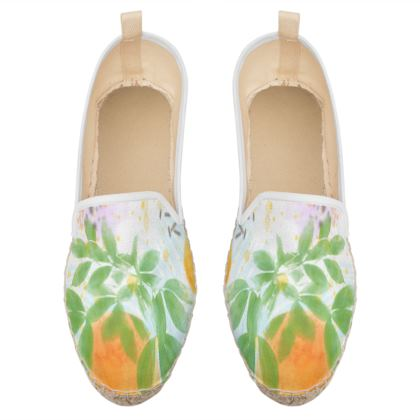 Little sun - Loafer Espadrilles - fruit design, apricots, sunny, orchard, yellow, bright, natural food, garden, hand-drawn floral, summer gift - design by Tiana Lofd