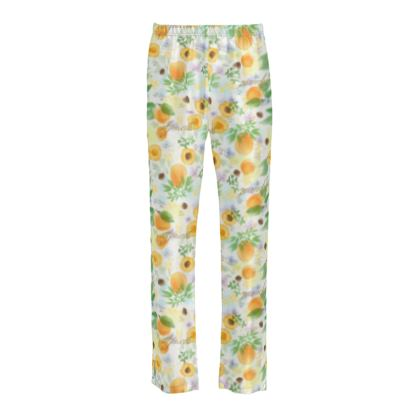Little sun - Ladies Silk Pyjama Bottoms - fruit design, apricots, sunny, orchard, yellow, bright, natural food, garden, hand-drawn floral, summer gift - design by Tiana Lofd