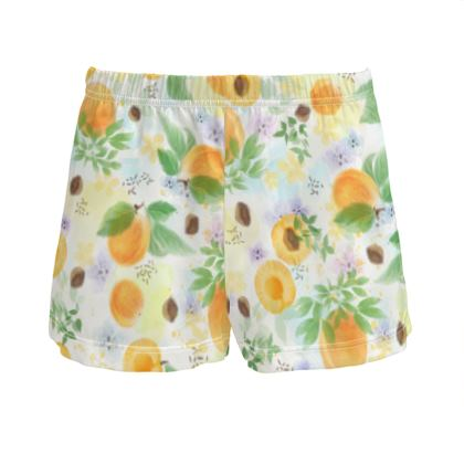 Little sun - Ladies Silk Pyjama Shorts - fruit design, apricots, sunny, orchard, yellow, bright, natural food, garden, hand-drawn floral, summer gift - design by Tiana Lofd