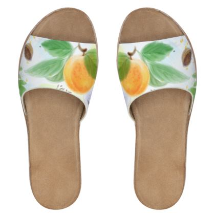 Little sun - Womens Leather Sliders - fruit design, apricots, sunny, orchard, yellow, bright, natural food, garden, hand-drawn floral, summer gift - design by Tiana Lofd