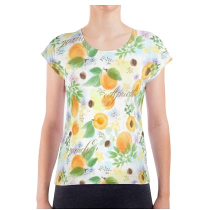Little sun - Ladies T Shirt - fruit design, apricots, sunny, orchard, yellow, bright, natural food, garden, hand-drawn floral, summer gift - design by Tiana Lofd
