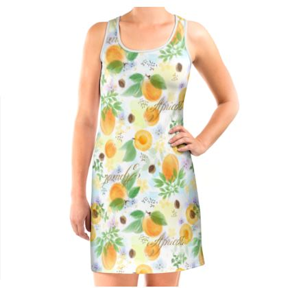Little sun - Vest Dress - fruit design, apricots, sunny, orchard, yellow, bright, natural food, garden, hand-drawn floral, summer gift - design by Tiana Lofd