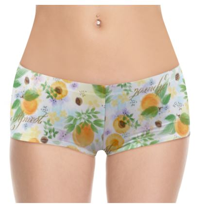 Little sun - Hot Pants - fruit design, apricots, sunny, orchard, yellow, bright, natural food, garden, hand-drawn floral, summer gift - design by Tiana Lofd