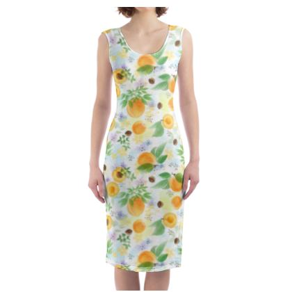 Little sun - Bodycon Dress - fruit design, apricots, sunny, orchard, yellow, bright, natural food, garden, hand-drawn floral, summer gift - design by Tiana Lofd