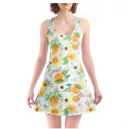 Little sun - Beach Dress - fruit design, apricots, sunny, orchard, yellow, bright, natural food, garden, hand-drawn floral, summer gift - design by Tiana Lofd