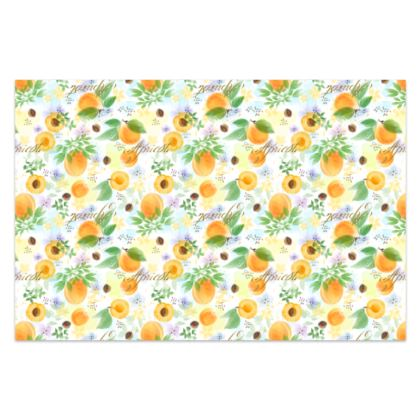Little sun - Sarong - fruit design, apricots, sunny, orchard, yellow, bright, natural food, garden, hand-drawn floral, summer gift - design by Tiana Lofd