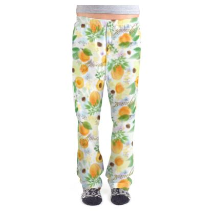 Little sun - Ladies Pyjama Bottoms - fruit design, apricots, sunny, orchard, yellow, bright, natural food, garden, hand-drawn floral, summer gift - design by Tiana Lofd