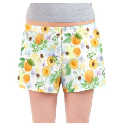 Little sun - Ladies Pyjama Shorts - fruit design, apricots, sunny, orchard, yellow, bright, natural food, garden, hand-drawn floral, summer gift - design by Tiana Lofd