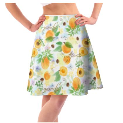 Little sun - Flared Skirt - fruit design, apricots, sunny, orchard, yellow, bright, natural food, garden, hand-drawn floral, summer gift - design by Tiana Lofd
