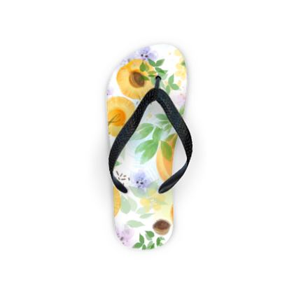 Little sun - Flip Flops - fruit design, apricots, sunny, orchard, yellow, bright, natural food, garden, hand-drawn floral, summer gift - design by Tiana Lofd