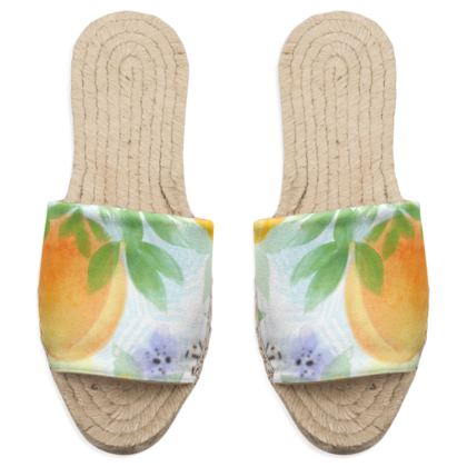 Little sun - Sandal Espadrilles - fruit design, apricots, sunny, orchard, yellow, bright, natural food, garden, hand-drawn floral, summer gift - design by Tiana Lofd