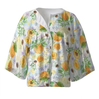 Little sun - Kimono Jacket - fruit design, apricots, sunny, orchard, yellow, bright, natural food, garden, hand-drawn floral, summer gift - design by Tiana Lofd