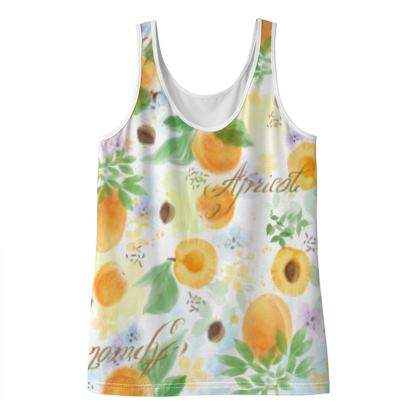 Little sun - Ladies Vest Top - fruit design, apricots, sunny, orchard, yellow, bright, natural food, garden, hand-drawn floral, summer gift - design by Tiana Lofd