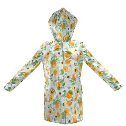 Little sun - Womens Hooded Rain Mac - fruit design, apricots, sunny, orchard, yellow, bright, natural food, garden, hand-drawn floral, summer gift - design by Tiana Lofd