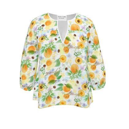Little sun - Womens Blouse - fruit design, apricots, sunny, orchard, yellow, bright, natural food, garden, hand-drawn floral, summer gift - design by Tiana Lofd
