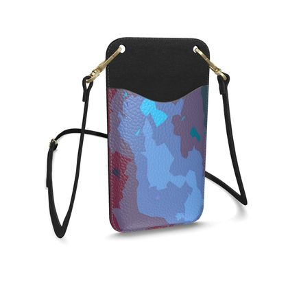 Leather Phone Case With Strap - Abstract Colours