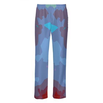 Mens Silk Pyjama Bottoms - Abstract Colours