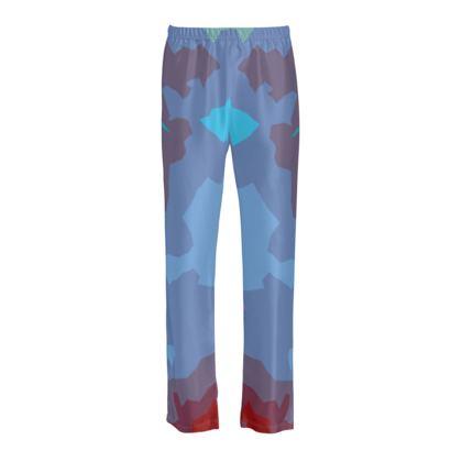 Ladies Silk Pyjama Bottoms - Abstract Colours