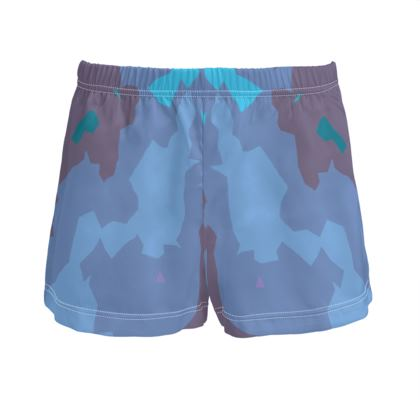 Ladies Silk Pyjama Shorts - Abstract Colours