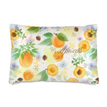 Little sun - Silk Pillow Case - fruit design, apricots, sunny, orchard, yellow, bright, natural food, garden, hand-drawn floral, summer gift - design by Tiana Lofd