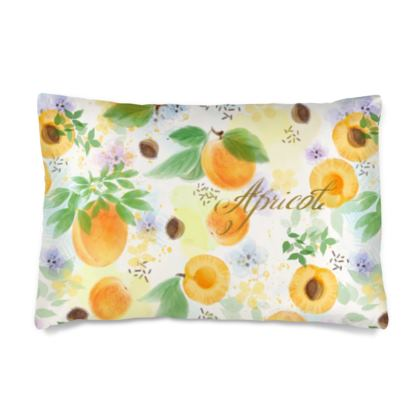 Little sun - Silk Pillow Cases sizes - fruit design, apricots, sunny, orchard, yellow, bright, natural food, garden, hand-drawn floral, summer gift - design by Tiana Lofd