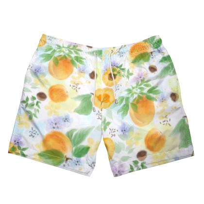 Little sun - Mens Swimming Shorts - fruit design, apricots, sunny, orchard, yellow, bright, natural food, garden, hand-drawn floral, summer gift - design by Tiana Lofd