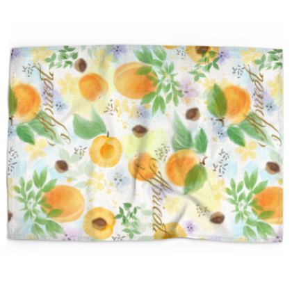 Little sun - Tea Towels - fruit design, apricots, sunny, orchard, yellow, bright, natural food, garden, hand-drawn floral, summer gift - design by Tiana Lofd