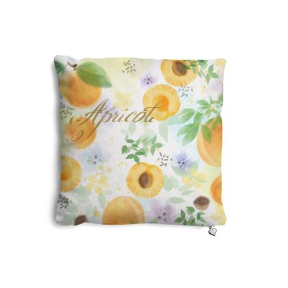 Little sun - Pillows Set - fruit design, apricots, sunny, orchard, yellow, bright, natural food, garden, hand-drawn floral, summer gift - design by Tiana Lofd