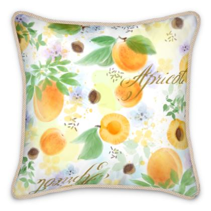 Little sun - Silk Cushions - fruit design, apricots, sunny, orchard, yellow, bright, natural food, garden, hand-drawn floral, summer gift - design by Tiana Lofd
