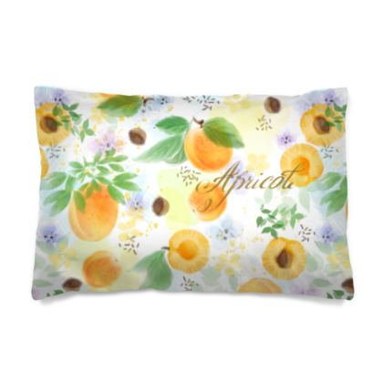 Little sun - Pillow Case - fruit design, apricots, sunny, orchard, yellow, bright, natural food, garden, hand-drawn floral, summer gift - design by Tiana Lofd
