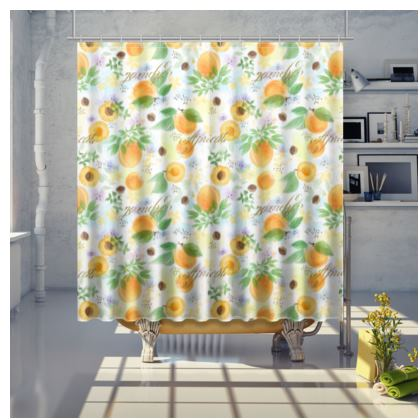 Little sun - Shower Curtain - fruit design, apricots, sunny, orchard, yellow, bright, natural food, garden, hand-drawn floral, summer gift - design by Tiana Lofd