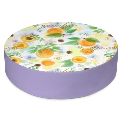 Little sun - Round Floor Cushions - fruit design, apricots, sunny, orchard, yellow, bright, natural food, garden, hand-drawn floral, summer gift - design by Tiana Lofd